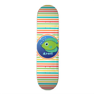 Green Fish Bright Rainbow Stripes Skateboards