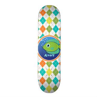 Green Fish on Colorful Argyle Pattern Skate Board Decks