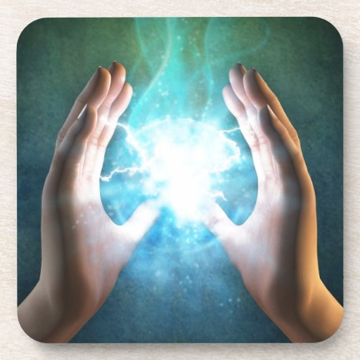 Green flame  powerful healing hands coasters