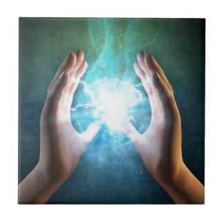 Green flame  powerful healing hands tile
