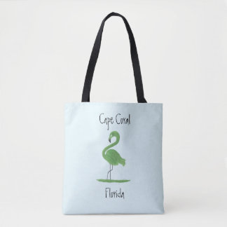 Green Flamingo Painting - Cape Coral Fine Art Tote Bag