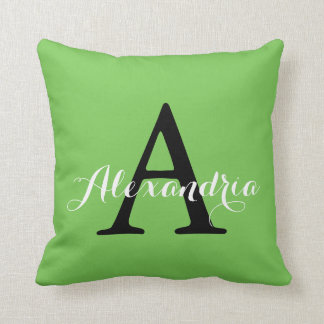 Green Flash Bright Vivid Solid Color Monogram Throw Pillow