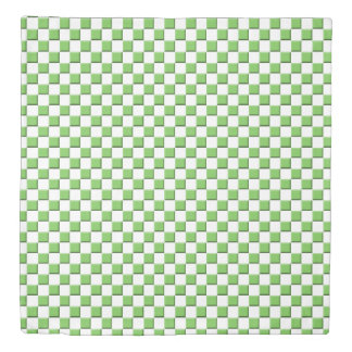 Green (Flash Green) Checked Duvet Cover