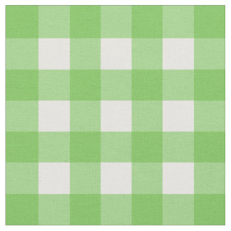 Green Flash & White Gingham Check Fabric