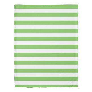 Green Flash & White Striped Duvet Cover