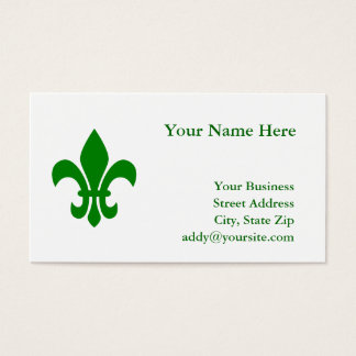 Green Fleur de Lis Business Card