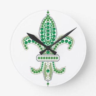 Green Fleur De Lis Round Clock