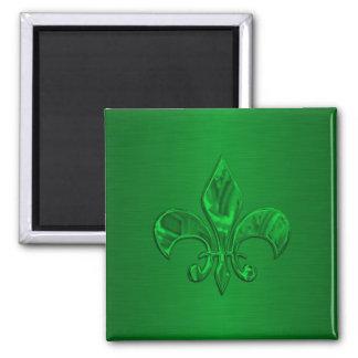 Green Fleur de Lis Square Magnet