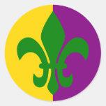 Green Fleur de Lis Sticker Rond