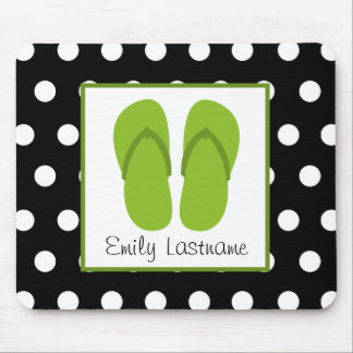 Green Flip Flops / Black With White Polka Dots Mouse Pad