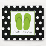 Green Flip Flops / Black With White Polka Dots Mousepads
