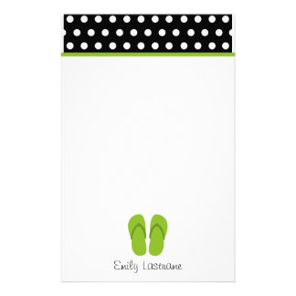 Green Flip Flops / Black With White Polka Dots Stationery