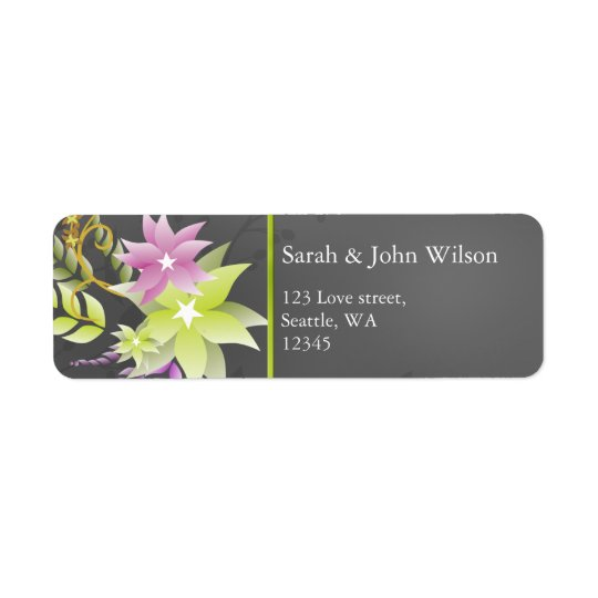 green floral address labels