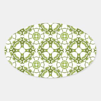 Green floral batik style design oval sticker