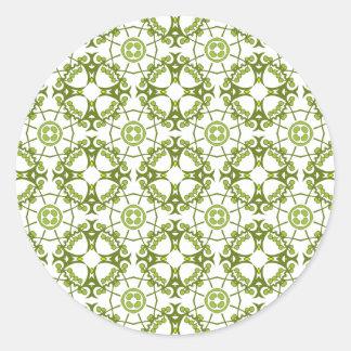 Green floral batik style design round sticker