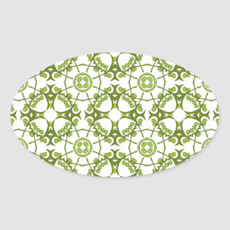 Green floral batik style design sticker