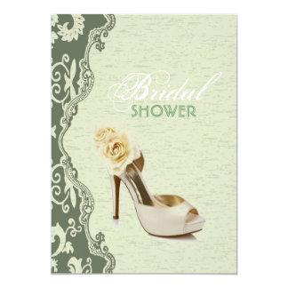 Green Floral bride shoes  Bridal Shower Invitation