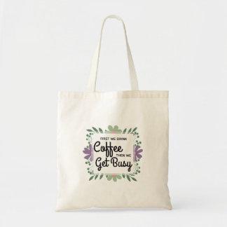Green Floral Coffee Drinkers Tote Bag