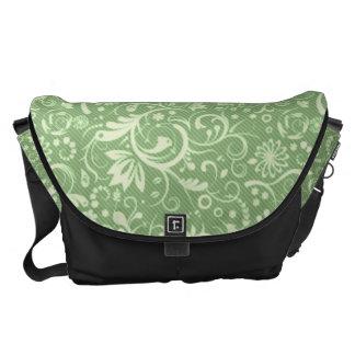Green Floral Damask Pattern Commuter Bag