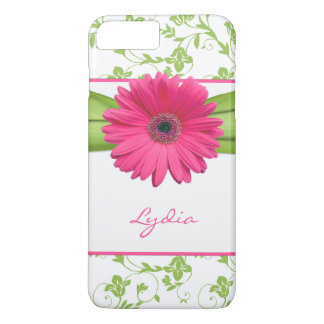 Green Floral Damask Pink Gerber Daisy iPhone 8 Plus/7 Plus Case