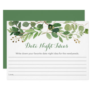 Green Floral Date Night Idea Card
