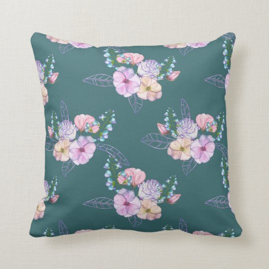 Green Floral Decorative Pillow