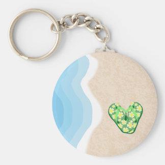 Green Floral Flip-Flops on the Beach Keychain