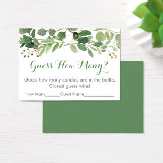 Green Floral Guess How Many Baby Shower Game Business Card