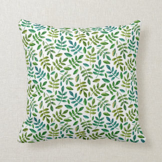Green floral leaves pillow. Watercolor botanical Throw Pillow