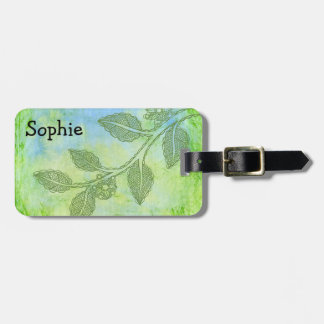 Green floral luggage tag