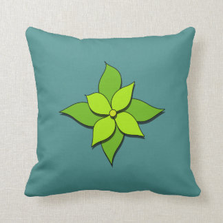 Green Floral on Blue Green Throw Pillow