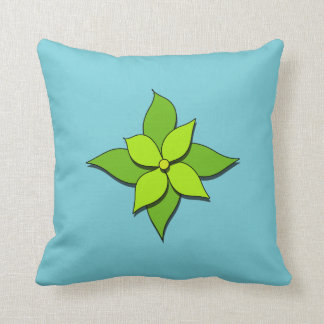Green Floral on Blue Throw Pillow