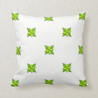 Green Floral on White2 Throw Pillow
