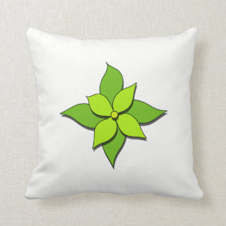 Green Floral on White Throw Pillow