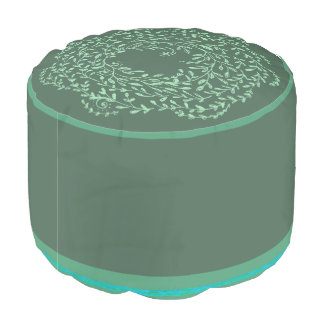 Green floral pattern pouf