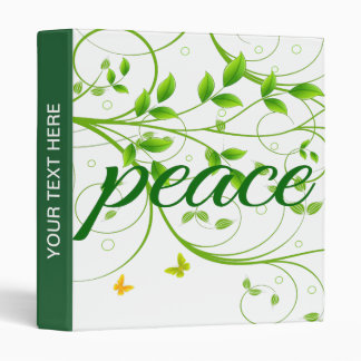 Green Floral Peace Sign 3 Ring Binder
