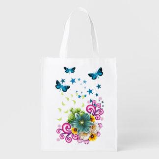 Green Floral Reusable Grocery Bag