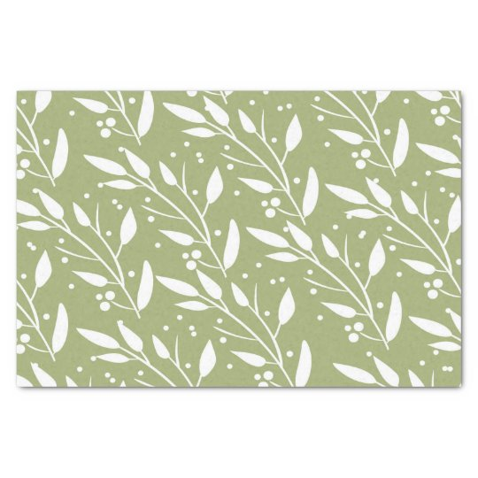 Green Floral Tissue Paper