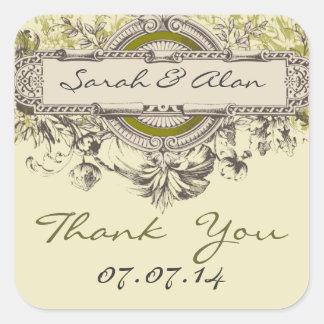 Green Floral Vintage Wedding Thank You Sticker