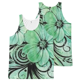 Green Floral with Swirls All-Over-Print Tank Top
