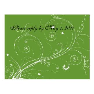 Green Flourish RSVP Postcard