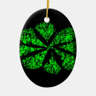 green flower ceramic oval ornament