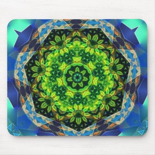 Green Flower Circle Geometric Mandala Mousepad