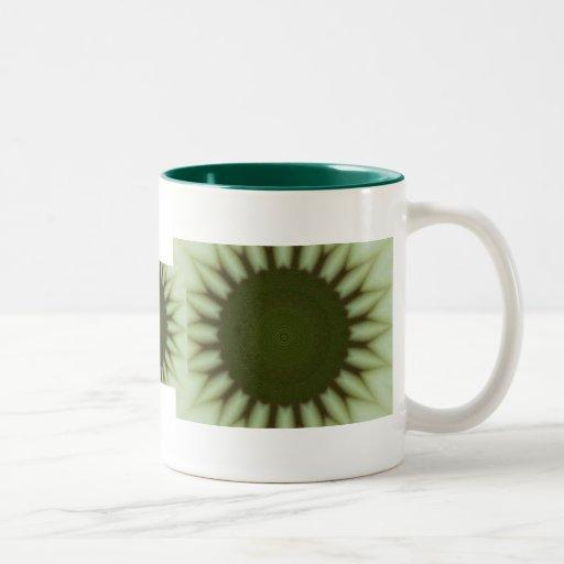 Green flower fractal design mugs