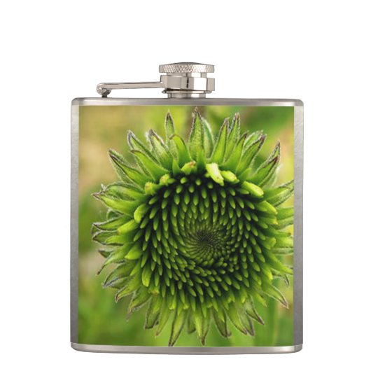 Green Flower Hip Flask