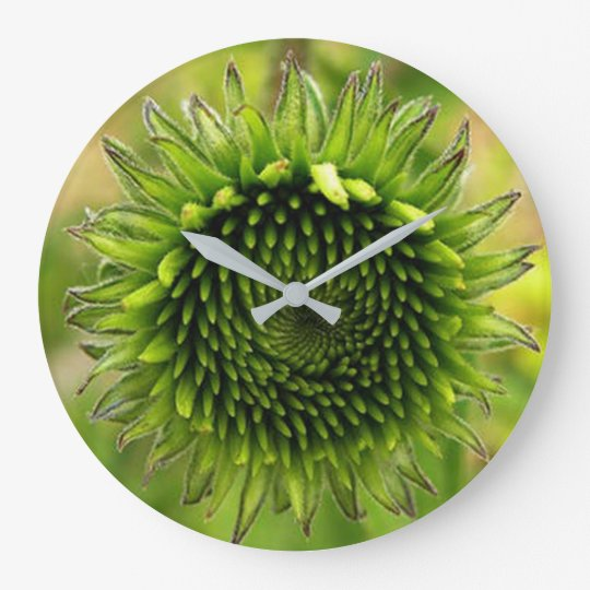 Green Flower Large Clock
