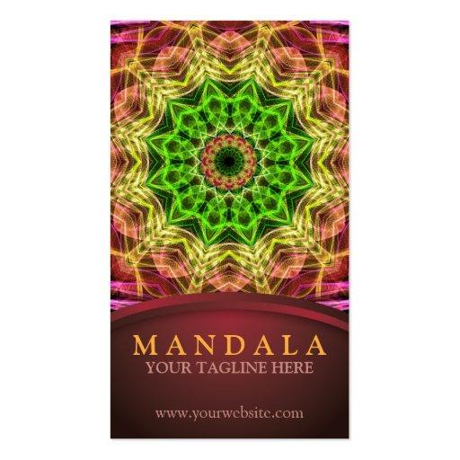 Green Flower Mandala Business Cards