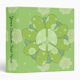Green Flower Peace Sign 3 Ring Binder