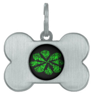 green flower pet name tag