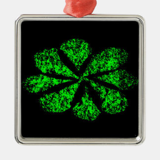 green flower Silver-Colored square ornament